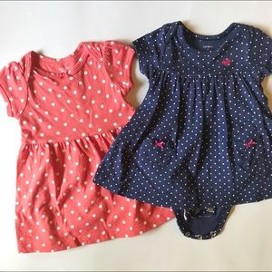 Carter Bundle of Two Polkadot Dresses Coral & Navy